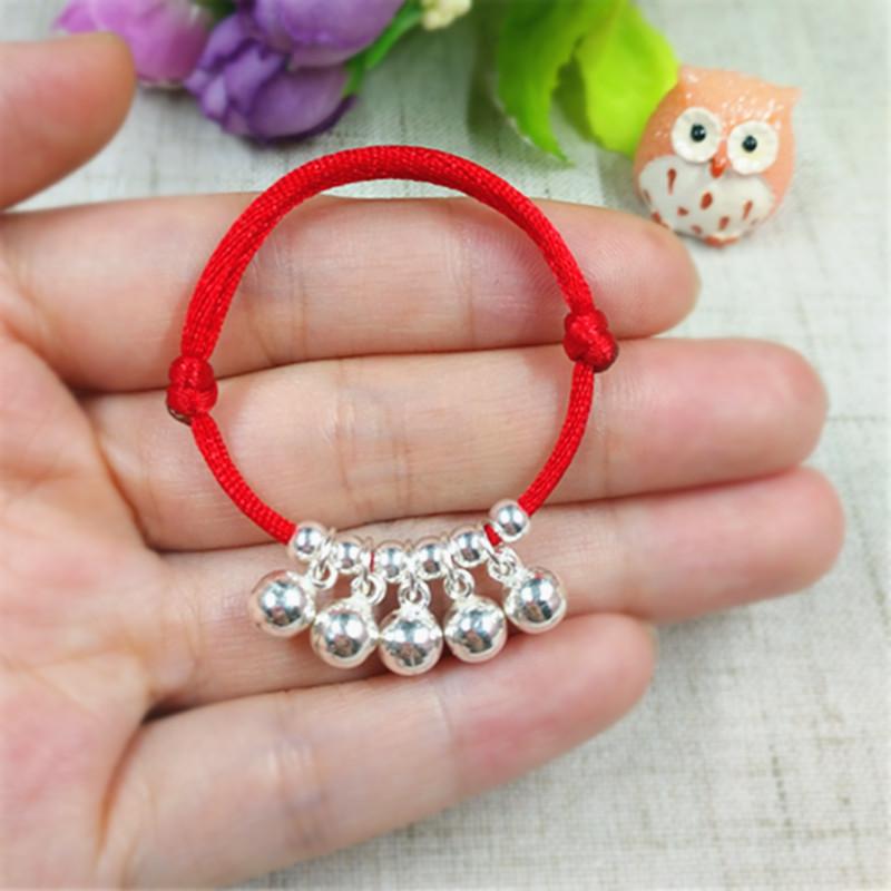 宝宝婴儿儿童纯银铃铛手链红绳辟邪脚链手镯新生儿满月周岁礼物