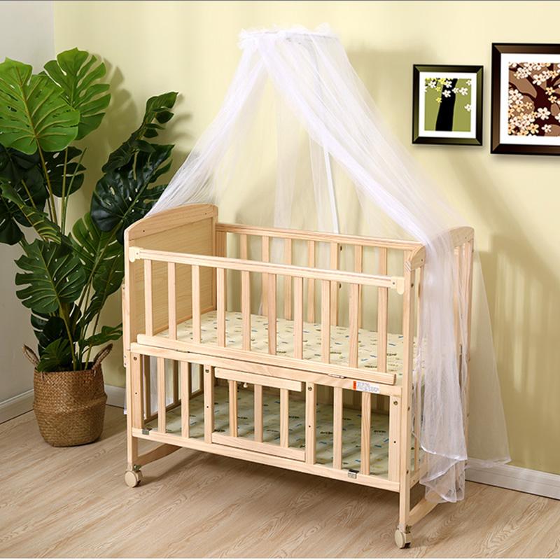 实木婴儿床儿童床双层床宝宝摇篮床可变书桌与大床合并送蚊帐(用1元券)