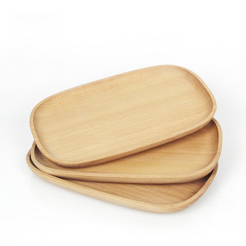 实木四足方盘 榉木托盘木制茶盘长方形水果盘日式糕点盘客厅果盘