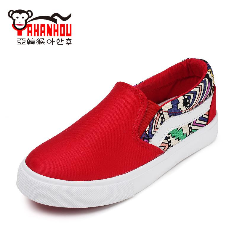 春秋童鞋帆布鞋套腳男童鞋 女童布鞋子兒童樂福鞋大童板鞋亞韓猴