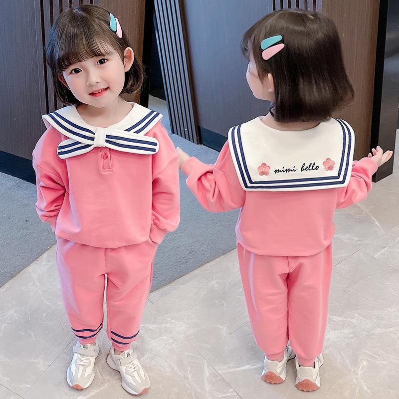 女童海军风套装春秋装2021洋气宝宝纯棉休闲卫衣运动装小童两件套