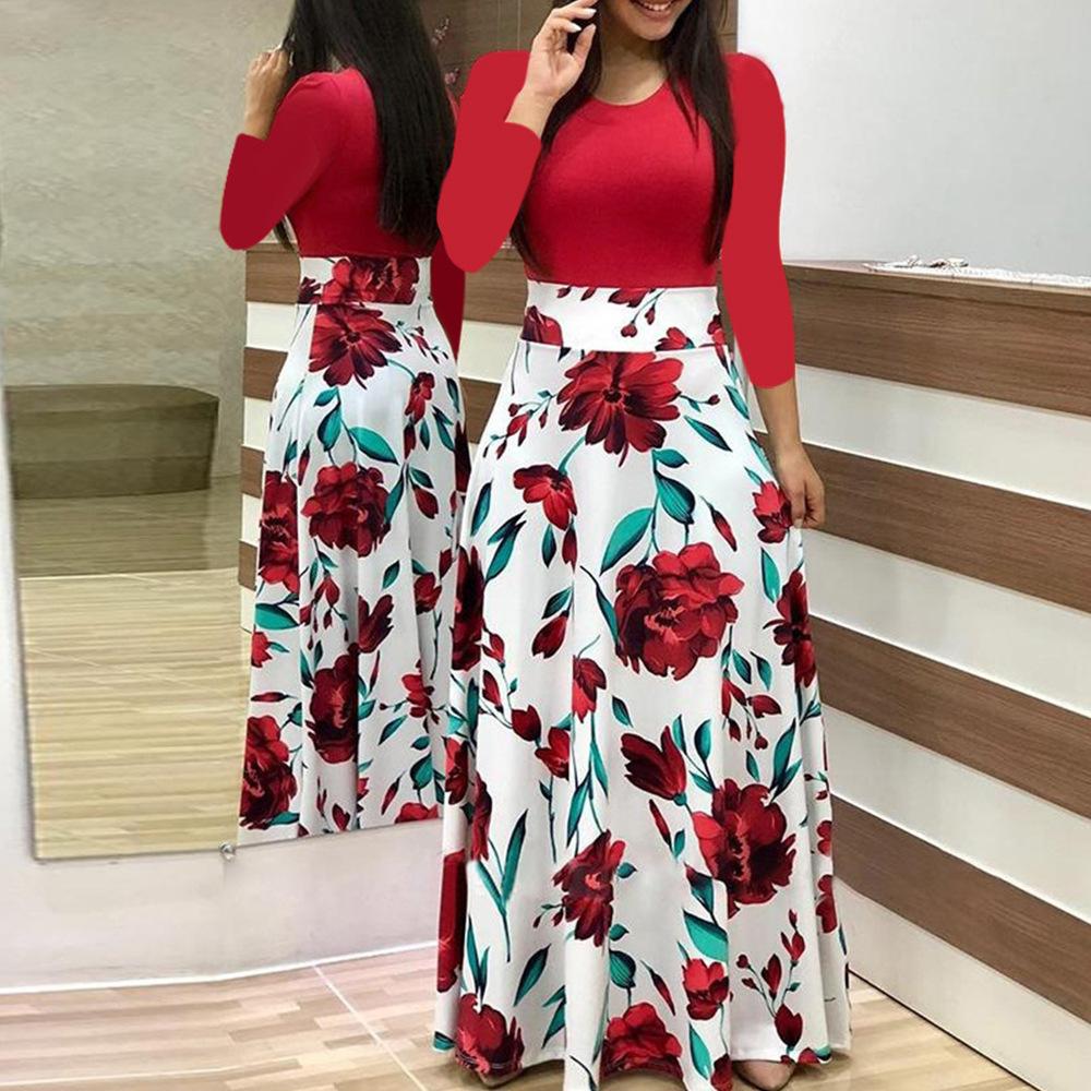 长袖连衣裙Fall Women Long sleeve dress Female Maxi Dresses
