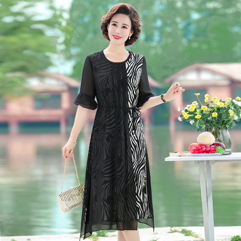 Mothers day for mother to wear a long dress, aunt round neck fashion age reducing skirt, womens knee skirt