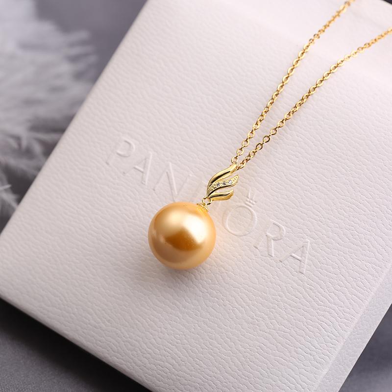 珍珠吊坠单颗贝珠项链正圆南洋金珠无暇纯银锁骨链气质项坠子饰品