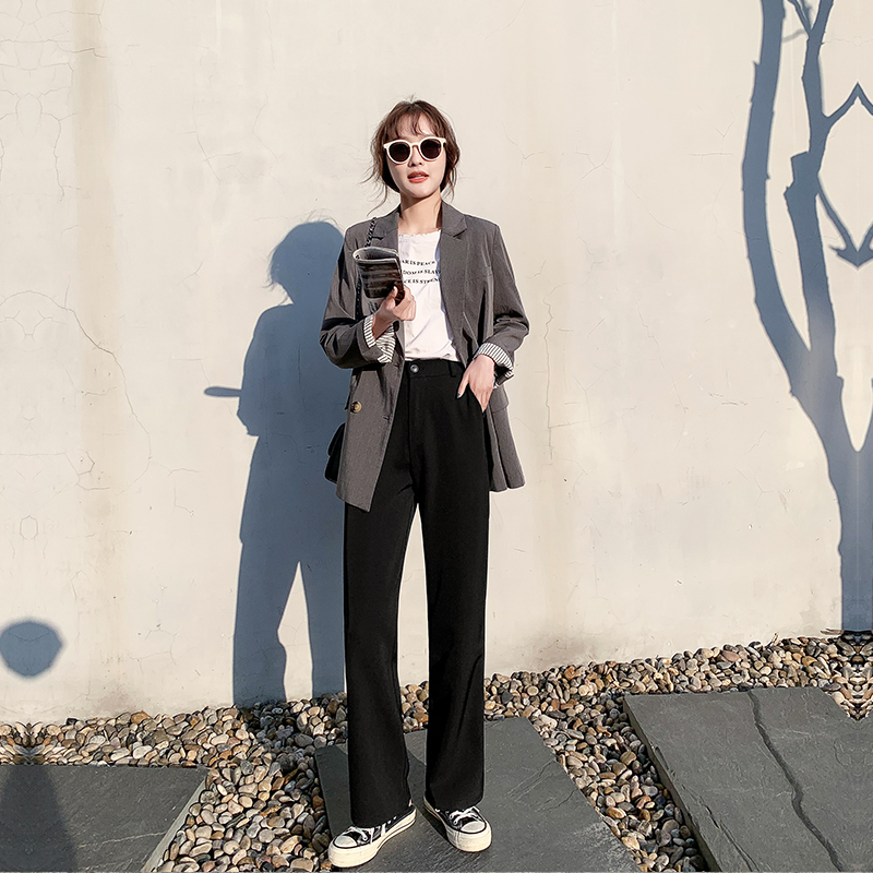 Fanrong mopping pants wide leg pants womens falling feeling high waist spring and autumn 2020 new straight tube loose fitting black suit pants