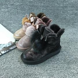 工厂店清仓断码处理保暖童鞋兔毛球羊毛雪地靴橡胶底真皮牛皮童靴
