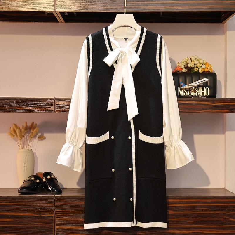 大码女装新款胖妹妹秋装套装宽松显瘦洋气针织裙气质两件套连衣裙券后122.00元