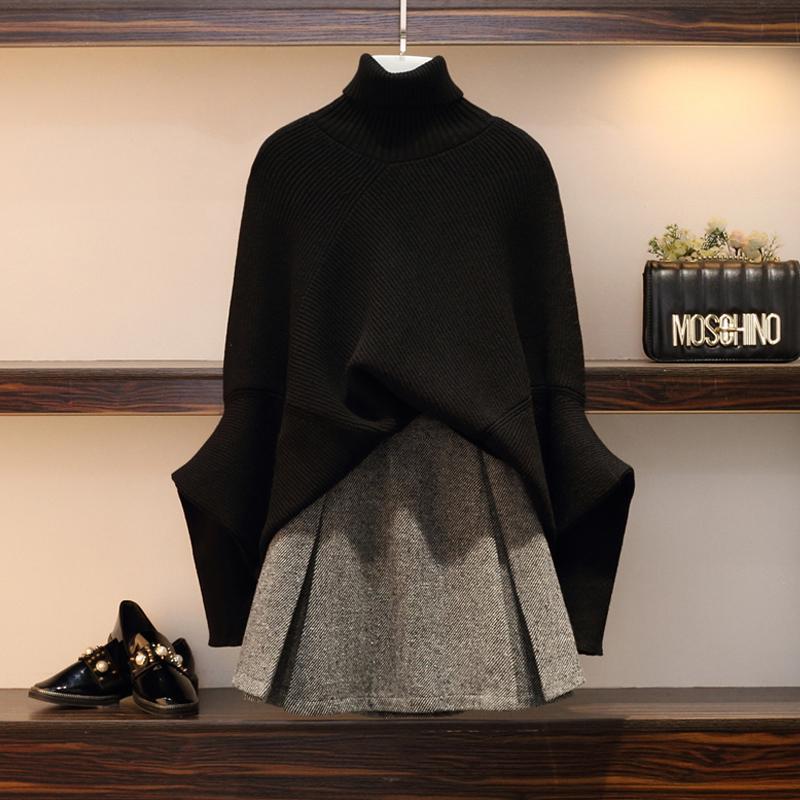 胖妹妹微胖显瘦洋气套装冬大码女装毛衣两件套遮肉时髦减龄连衣裙12月01日最新优惠