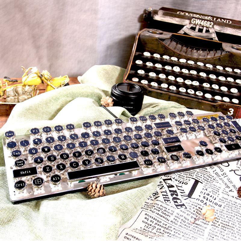 蒸汽朋克真机械键盘 吃鸡黑轴复古金属电脑游戏104创意个性圆键帽