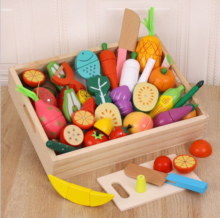 Childrens wooden toys simulation wooden box cloth bag fruit and vegetable cutting music magnetic barrel kitchen matching