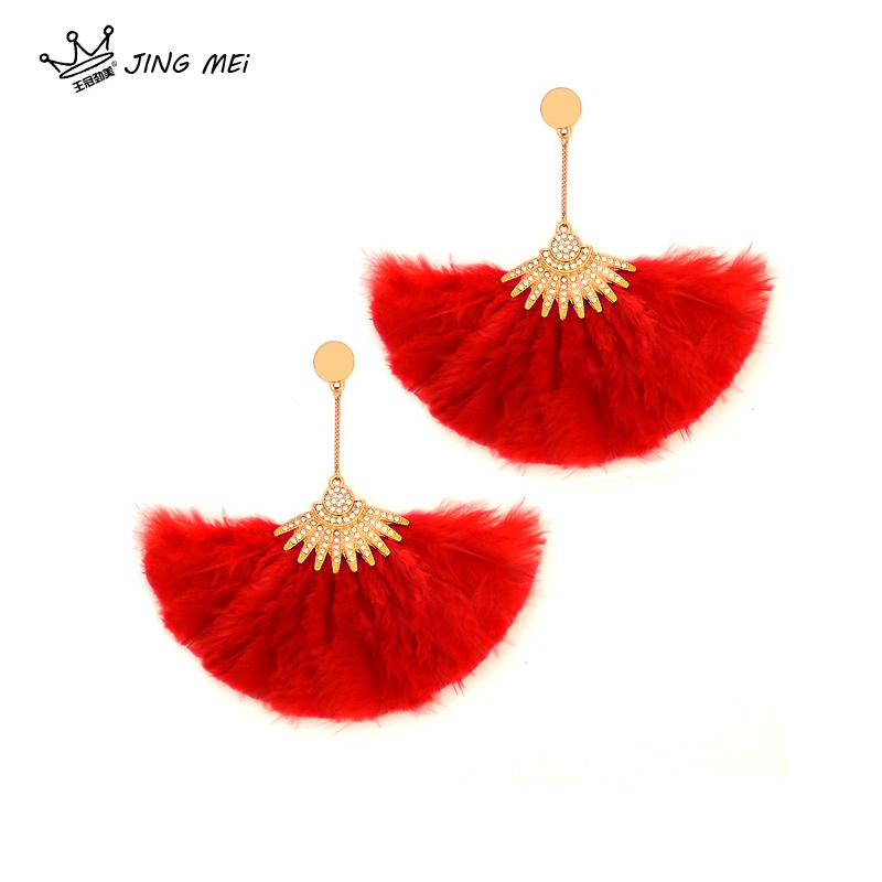 Feather Pendant Earrings long European and American fashion personality exaggeration full diamond sector earrings earrings ear clip show Earrings