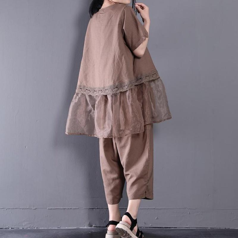 大码女装夏装文艺欧根纱拼接棉麻休闲遮肉套装时髦洋气两件套显瘦