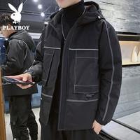 花花公子男士冬季韩版潮流加厚棉袄