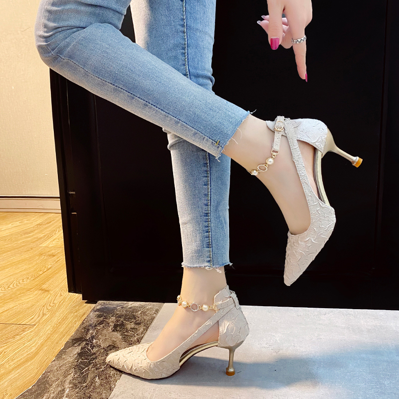 Baotou hollow ankle buckle with 7cm high hollow half sandals womens summer 2021 fashion new single shoe chain