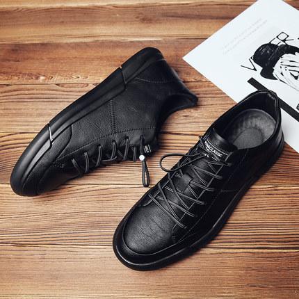 保罗男鞋2019春季黑色休闲鞋男新款韩版懒人皮鞋百搭潮流男士板鞋
