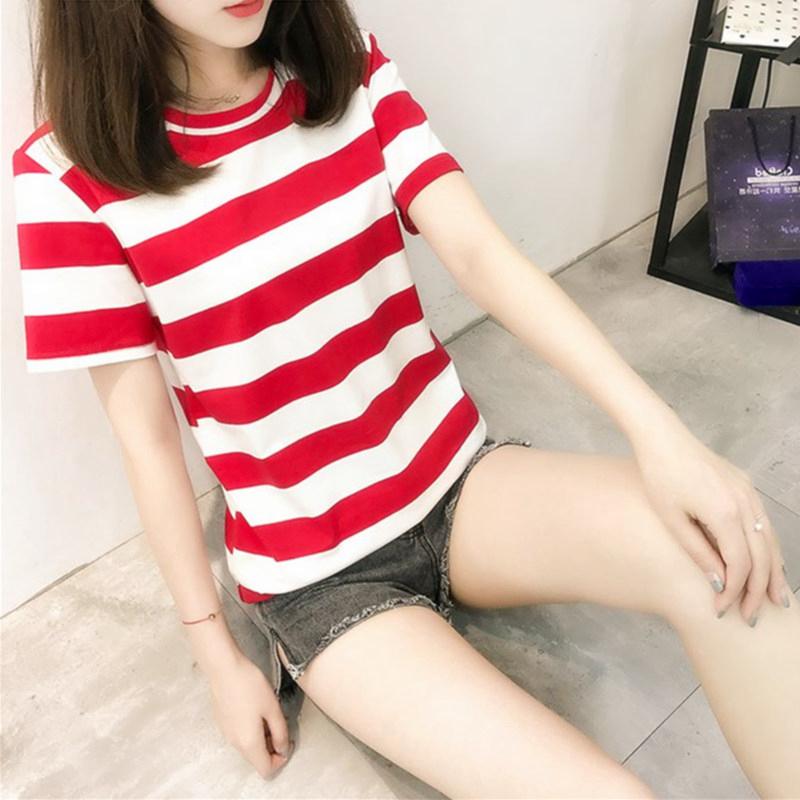 纯棉条纹短袖t恤女社会夏装新款韩版宽松上衣学生百搭大码打底衫