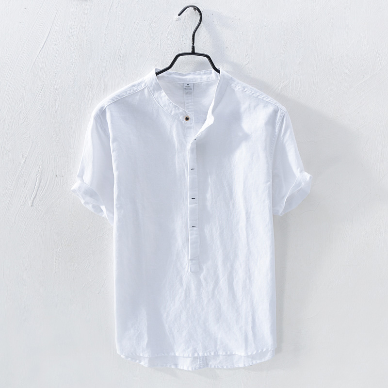 Linen Shirt Mens linen short sleeve summer casual loose large cotton linen thin stand collar youth trend top