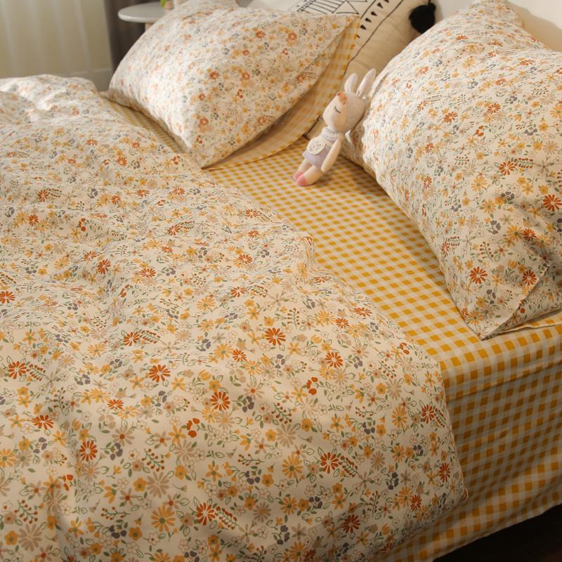 纯棉学生宿舍田园风小碎花床品单人双人床单被套全棉四件套1.8米
