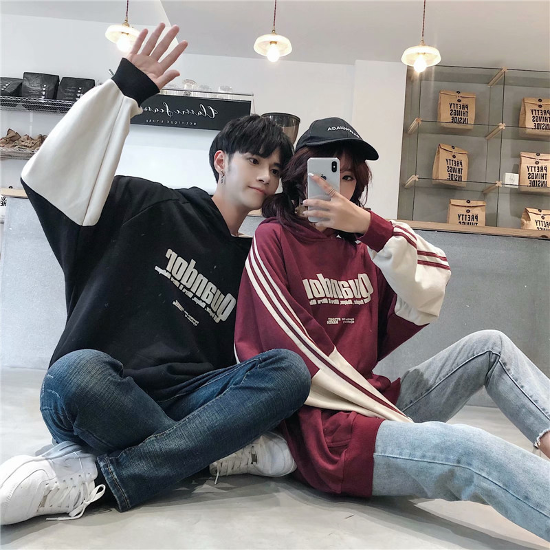 Spring and autumn couples sweater mens hooded Korean loose collar Korean hip hop Pullover long sleeve Hoodie