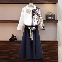 大码秋季新款微胖妹妹mm轻熟风印花衬衫女设计感小众半身裙两件套