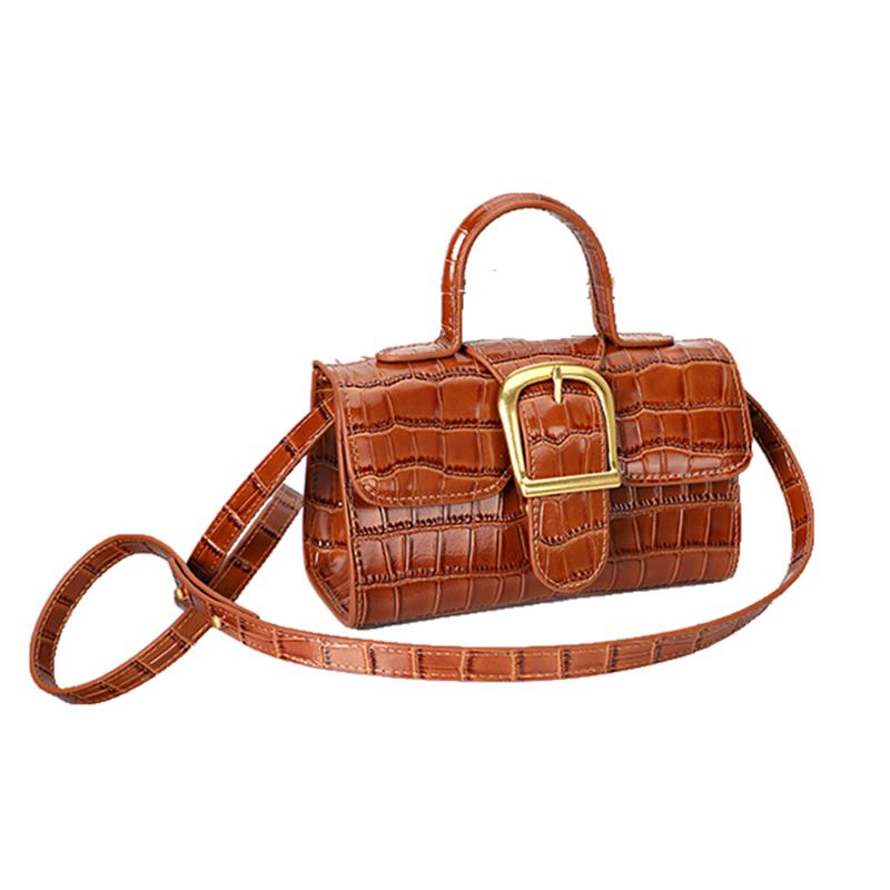 Xiaozhongchao brand womens bag net red retro handbag small square bag crocodile bean curd bag cross doctor bag small bag