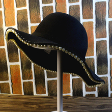 秋冬天韩版街拍出游时尚学生珍珠毛呢帽冬季青年休闲复古大檐礼帽