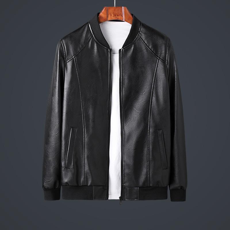 Spring and autumn Leather Mens Korean fashion slim fit leather jacket youth leather jacket BASEBALL JACKET MOTORCYCLE JACKET