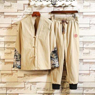 中国风长袖套装男古风汉服两件套白墙挂拍平铺A103TZ1917P120