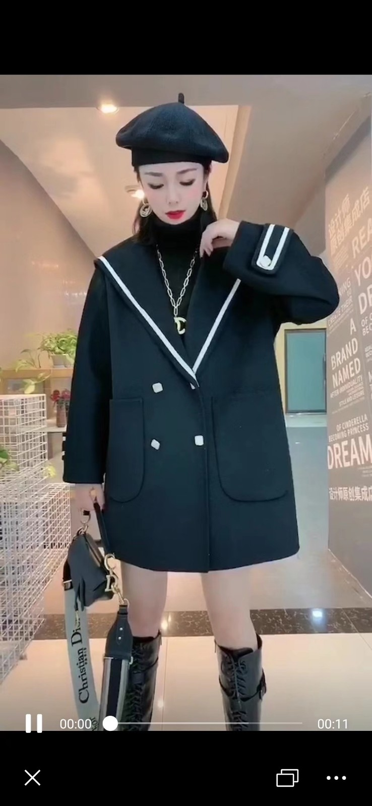 2019 new anti season double-sided cashmere coat womens Short Navy small wool coat