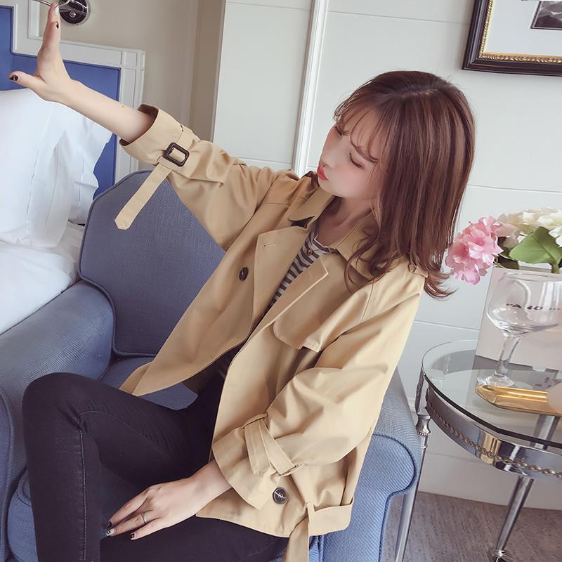 矮小个子短款风衣外套女春秋季2018新款韩版学生bf原宿风宽松外衣