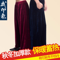 Wu Impression Taiji pants female Autumn winter gold velvet Taiji clothes male lantern pants thickened velvet martial arts practice Pants