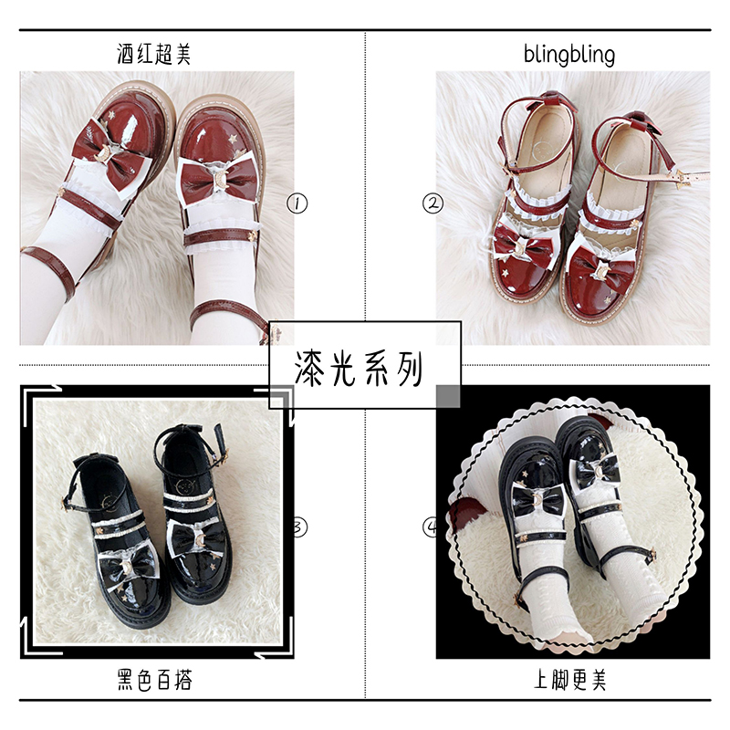 [spot] [moon falling star river] Lolita original single shoes cute round head daily middle heel shoes