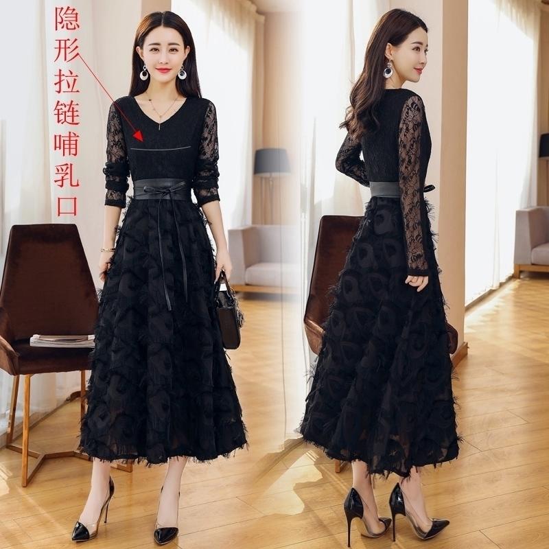哺乳连衣裙秋季新款辣妈款韩版修身显瘦长款蕾丝月子服产后喂奶裙11-29新券