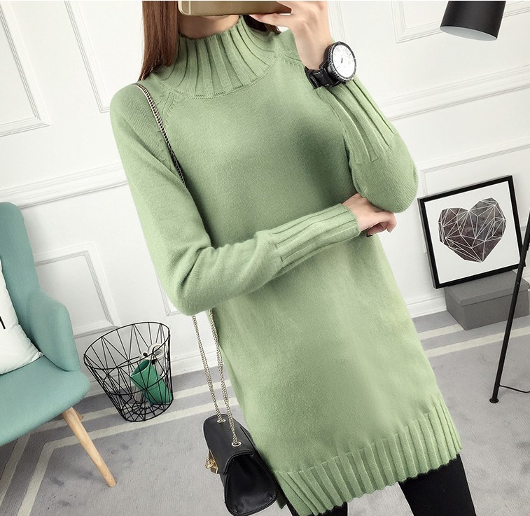 Autumn and winter new loose thickened Korean high neck medium and long split knit long sleeve coat sweater womens backing trend