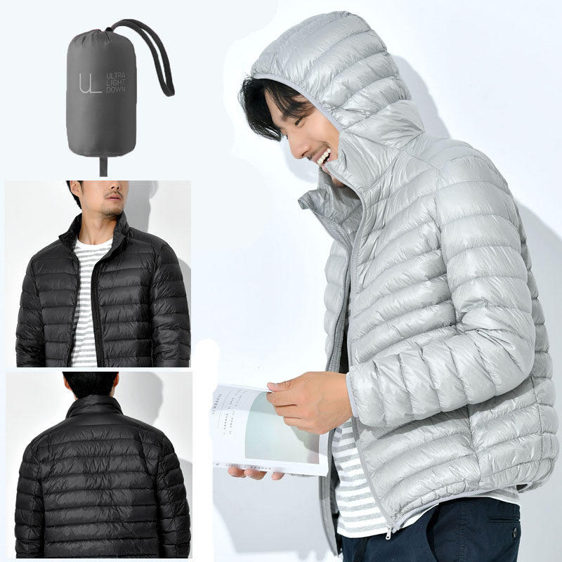 Winter large down jacket mens short thickened ultra light stand collar Korean slim hooded youth loose jacket