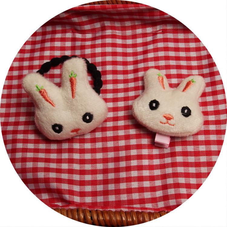 韩版 可爱 毛绒 小白兔  兔兔 萝卜 耳朵 发夹 刘海夹 发圈发绳