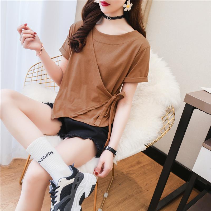 短袖T恤女夏性感气质不规则绑带个性上衣cec纯色修身显瘦百搭体恤
