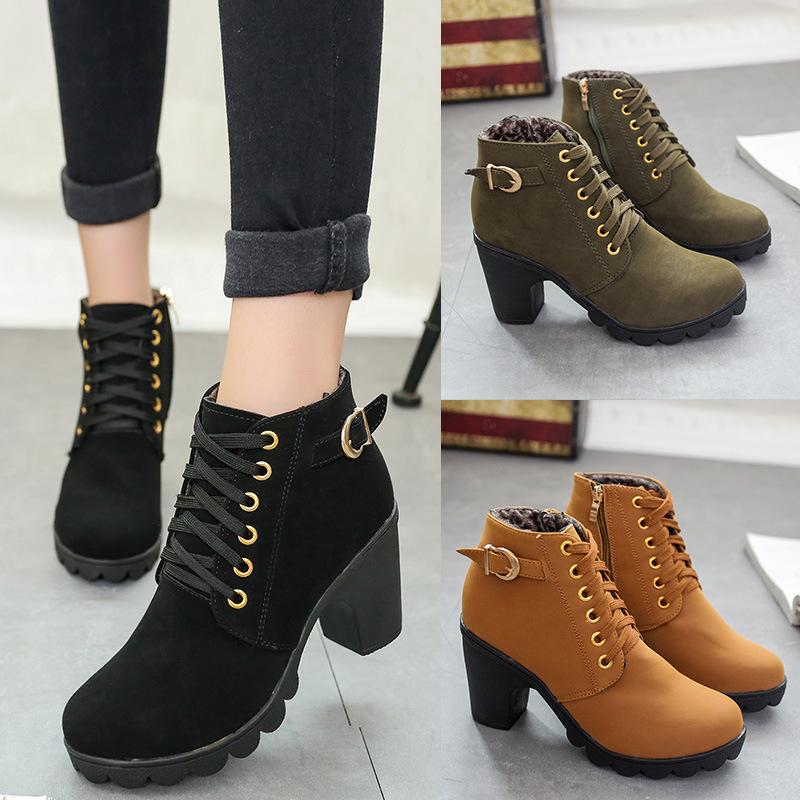 新品2018秋冬新款女单高跟代发棉靴粗跟厚底保暖外贸贸易系带靴中