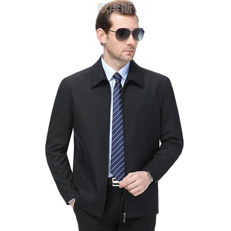 白领男装羊毛夹克衫男春冬中年男士翻领格子外套百搭工作送长辈45