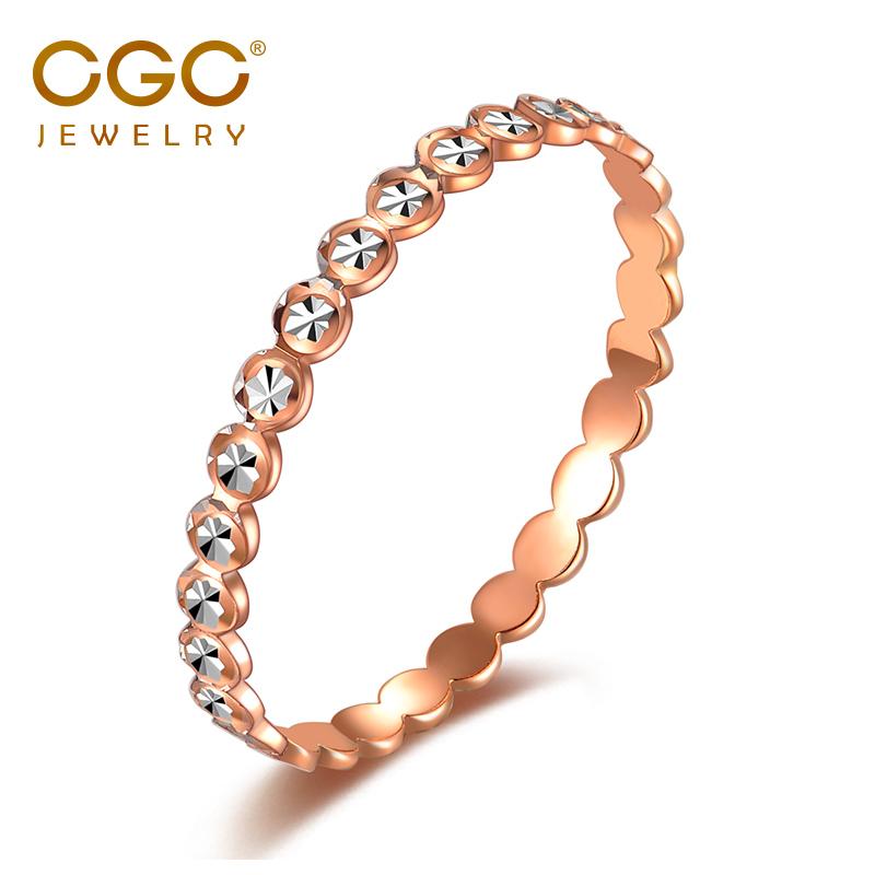 CGC中银金行18k金戒指彩金戒指满天星戒指尾戒玫瑰金白金指环女款