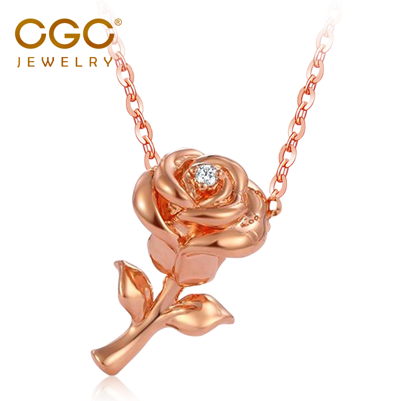 CGC jewelry 18K Gold Pendant Rose Gold Color Gold Diamond Pendant Rose Pendant Necklace for girlfriend