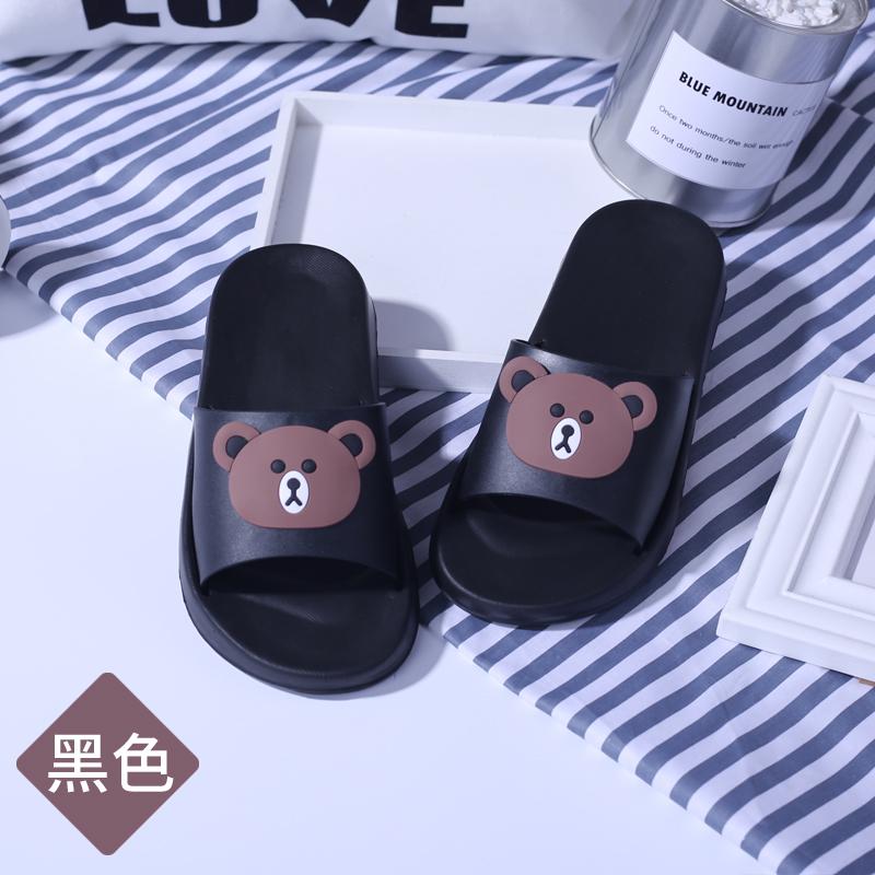韓版黑色情侶浴室拖鞋按摩防滑軟底洗澡男女家居室內軟底涼拖厚底
