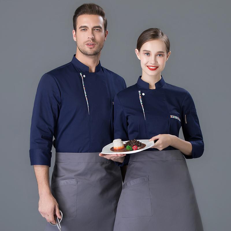 秋冬长袖蛋糕师工作服面点烘焙师制服韩国料理餐厅厨师烤肉师傅服