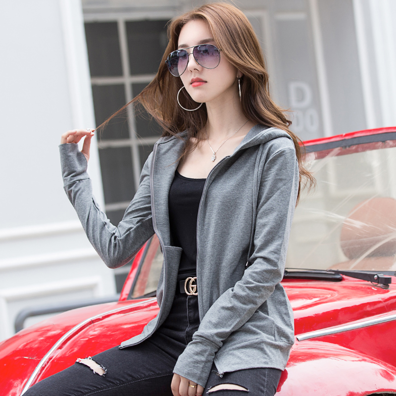 Autumn long sleeved Cotton Hooded zipper sweater womens loose and thin sports running jacket with hat thin autumn clothes