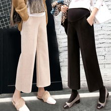 Pregnant women pants winter pants outside wearing casual woolen wide leg pants female leggings spring and autumn tide mother spring winter clothing