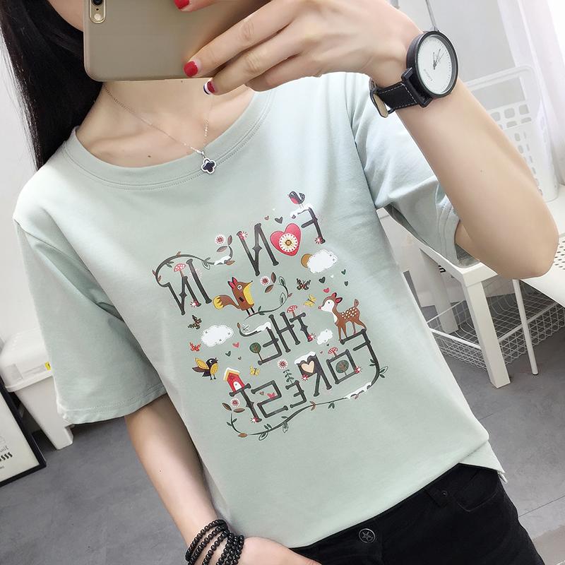 1885#夏实拍短袖t恤女韩版衣服夏装2018新款打底体恤衫短袖上衣女