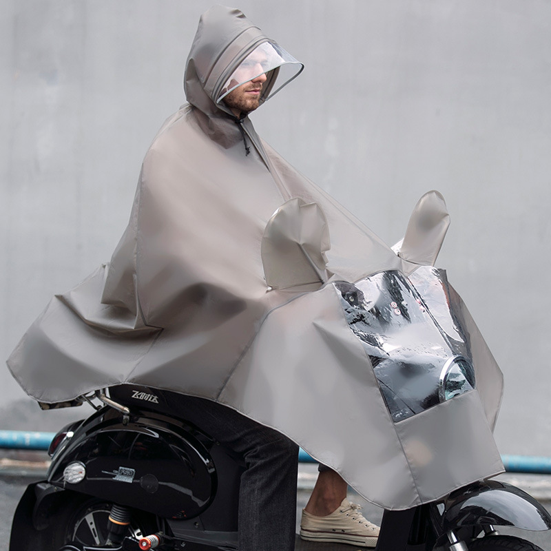 Motorcycle battery car raincoat long rainproof large size male and female students adult riding heavy brim poncho