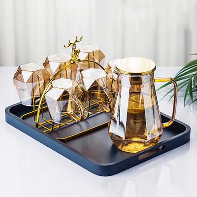 轻奢茶杯水壶水具套装杯子家用客厅简约现代玻璃水杯套装带托盘