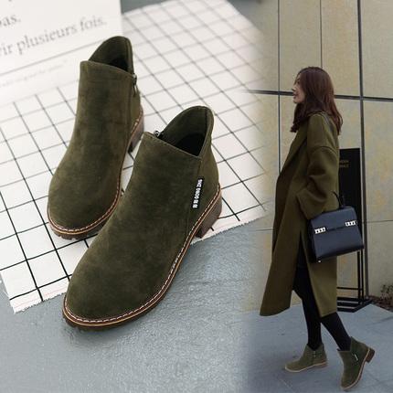 10秋冬季新款欧美女短靴马丁靴冬磨砂粗跟中跟休闲百搭学生女鞋