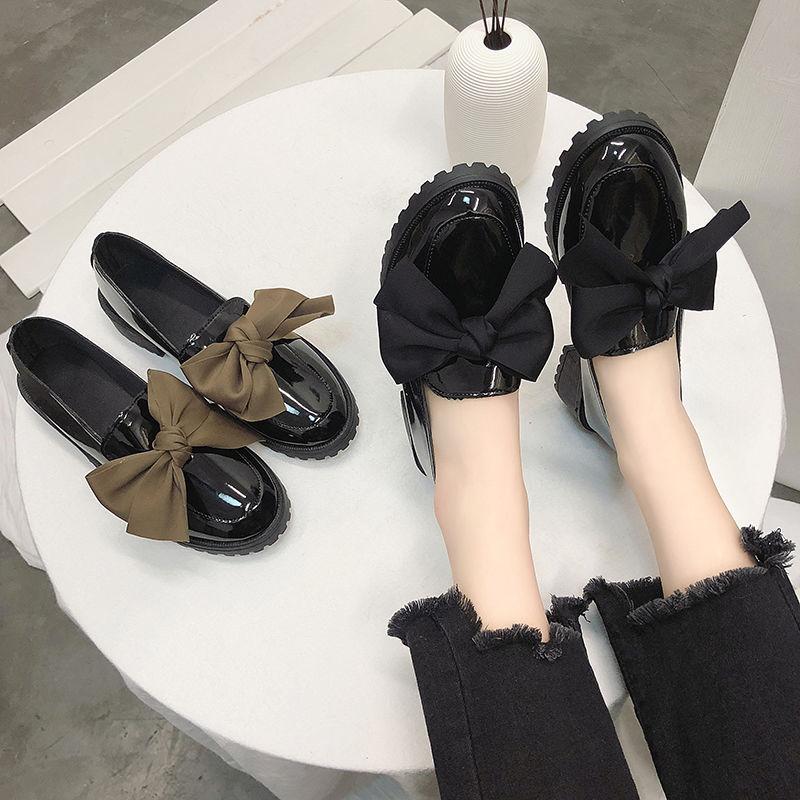 P5秋季小皮鞋女新款社会休闲单鞋女鞋时尚蝴蝶结鞋子女学生韩版